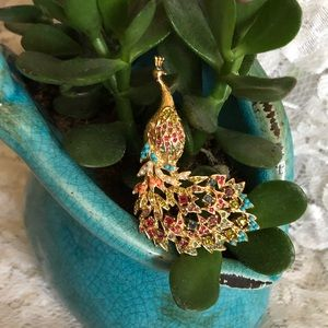 D'Orlan Gold Multi-Colored Crystal Peacock Brooch